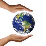 Mundo na mão fotografia de stock royalty free