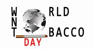 Mundo nenhum dia do tabaco 31 de maio Vetor n?o fumadores Sinal de aviso do fumo Mapa de mundo v?deo 4K ilustração stock