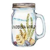 Mundo Palabra-submarino Vaso de Isoleted con Marine Life Landscape - el océano y el mundo subacuático con diferente Fotos de archivo libres de regalías