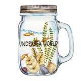 Mundo Palabra-submarino Vaso de Isoleted con Marine Life Landscape - el océano y el mundo subacuático con diferente Imágenes de archivo libres de regalías