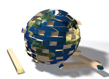 Mundo que cai distante. Imagens de Stock
