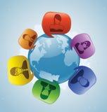 Mundo que habla social Imágenes de archivo libres de regalías