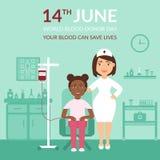 Mundo sangue doador dia o 14 de junho A bandeira médica seu sangue pode salvar vidas Cuidados médicos Uma enfermeira ou um doutor Foto de Stock Royalty Free