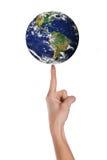 Mundo sobre a mão Imagens de Stock