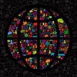 Mundo social del icono de los media Imagen de archivo libre de regalías