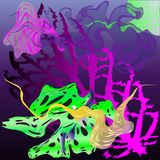 Mundo subacuático fantástico: moluscos, alga marina, medusas stock de ilustración