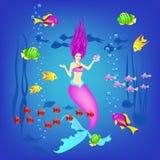 Mundo subacuático, pequeña sirena, pescados, plantas y una perla, ejemplo del vector ilustración del vector