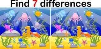 Mundo subacuático, suelo marino con el pulpo, submarino, ballena, pescados, corales y cáscaras del mar Juego educativo para los n ilustración del vector