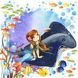 Mundo subacuático Arrecife de coral de la sirena y de los pescados ejemplo de la acuarela para los niños Fotos de archivo libres de regalías