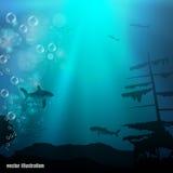 Mundo subaquático bonito e perigoso ilustração do vetor