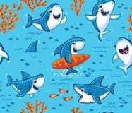 Mundo subaquático com fundo engraçado dos tubarões ilustração stock