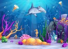 Mundo subaquático com um tubarão engraçado dos peixes e de hammerhead ilustração do vetor