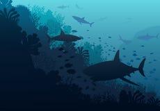 Mundo subaquático do oceano com tubarão ilustração stock