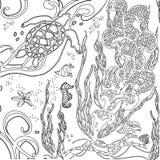 Mundo subaquático do zentangle da ilustração do vetor Mar da garatuja, ocea Imagens de Stock Royalty Free