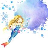 Mundo subaquático Ilustração da aquarela da sereia para crianças ilustração do vetor