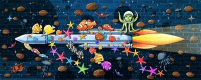 Mundo subaquático que viaja pela pintura da parede do foguete ilustração do vetor