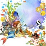 Mundo subaquático Recife de corais da sereia e dos peixes ilustração da aquarela para crianças Foto de Stock Royalty Free
