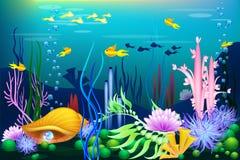 Mundo submarino con la concha marina, los pescados y las perlas de oro Imágenes de archivo libres de regalías