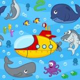 Mundo submarino del modelo inconsútil Fotografía de archivo libre de regalías