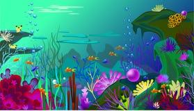 Mundo submarino del vector con los pescados Diversas algas marinas y una perla grande Fotos de archivo
