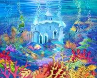 Mundo submarino misterioso y de la fantasía Castillo subacuático stock de ilustración
