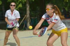 Mundo Team Championship 2014 do tênis da praia fotos de stock royalty free