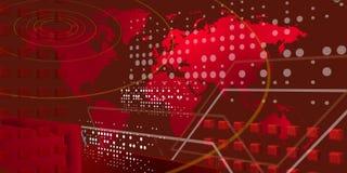Mundo teccnological fresco sobre rojo Imagen de archivo
