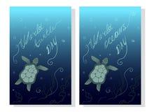 Mundo tortuga día 23 de mayo Protección de la tierra y del océano Día de los océanos del mundo - tarjeta soleada global ecológica ilustración del vector