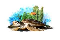 Mundo tropical subacu?tico con una tortuga en un fondo abstracto imagenes de archivo