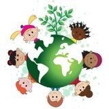 Mundo verde com crianças Fotos de Stock Royalty Free