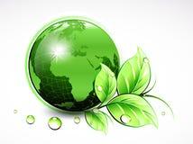 Mundo verde natural com folhas e gotas da água Ilustração do vetor ilustração stock