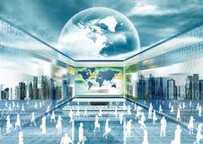 Mundo virtual do negócio Fotografia de Stock Royalty Free