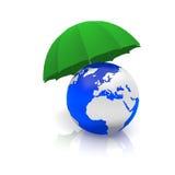Mundo y un paraguas Fotografía de archivo