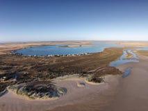 Mundoo海峡, Hindmarsh海岛空中照片  免版税图库摄影