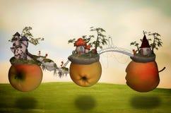 Mundos fantásticos da maçã Fotos de Stock Royalty Free