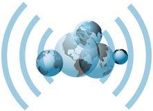 Mundos globales de la conexión de red del wifi Foto de archivo