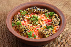 Mundy. Traditional Middle Eastern dish cooked with spices. Middle East Arabic food. Mundy. Traditional Middle Eastern dish cooked with spices Stock Image