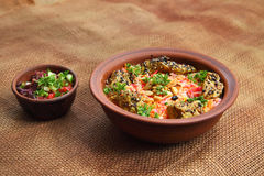 Mundy. Traditional Middle Eastern dish cooked with spices. Middle East Arabic food. Mundy. Traditional Middle Eastern dish cooked with spices Royalty Free Stock Photo