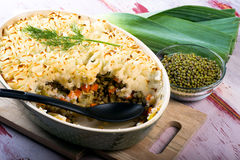Mung Bean Casserole. Mung Bean and leek casserole with potato crust.  Healthy Vegan Food Royalty Free Stock Photography