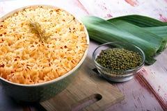 Mung Bean Casserole. Mung Bean and leek casserole with potato crust.  Healthy Vegan Food Stock Image