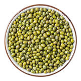 Mung bean. Close up mung bean in ceramic dish isolated on white - with path Stock Photo