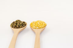Mung bean and Hull - split monk bean 0n white background Stock Images
