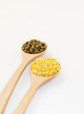Mung bean and Hull - split monk bean on white background Royalty Free Stock Image