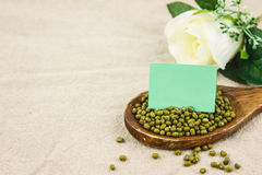 Mung bean with notepaper Royalty Free Stock Image