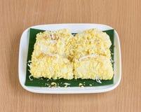 Mung bean rice-crepe. (Thailand sweets&#x29 Royalty Free Stock Photos