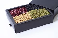 Mung bean and soybean in a box Stock Photos