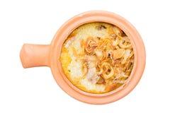 Mung Bean Thai Custard Dessert Recipe en el pote de arcilla aislado en wh imágenes de archivo libres de regalías