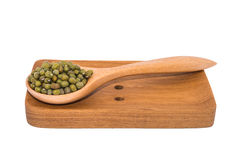 Mung bean in wood spoons Stock Photo