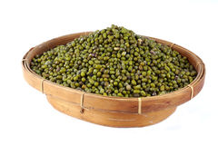 Mung Beans. Bulk of mung beans on the basket, Vigna radiata royalty free stock photos
