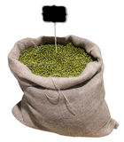 Mung beans in bag isolate on white background. Stock Photo